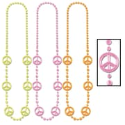 "Beistle 36"" Sign Beads Necklace, Neon Peace"