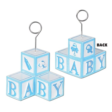 Light Blue Baby Blocks Photo/Balloon Holder, 3/Pack