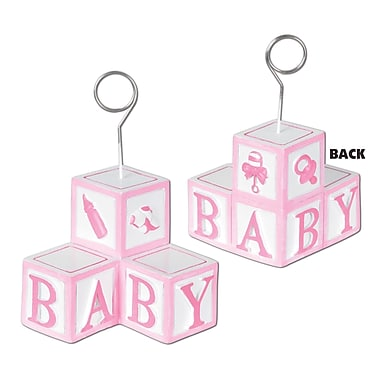 Pink Baby Blocks Photo/Balloon Holder, 3/Pack