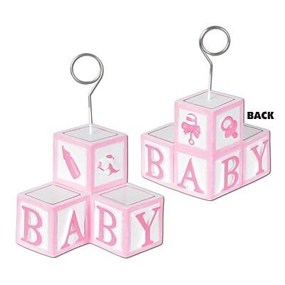 Beistle 6 oz. Baby Blocks Photo/Balloon Holder; Pink, 3/Pack