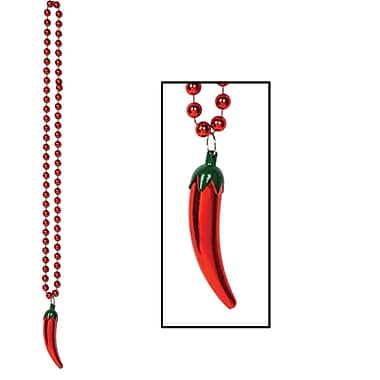Beads With Chili Pepper Medallion, 36