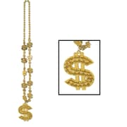 Beistle Beads Necklace With Dollar Sign Medallion, 33""