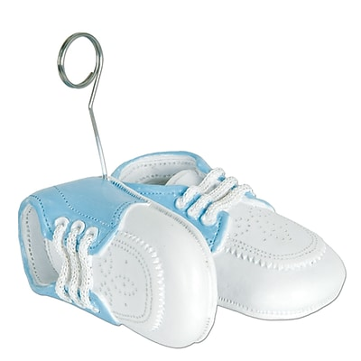 Beistle 6 oz. Baby Shoes Photo/Balloon Holder, Light Blue, 3/Pack