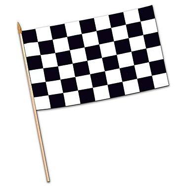Grand drapeau damier rayonne, 11 x 18 po, 6/paquet