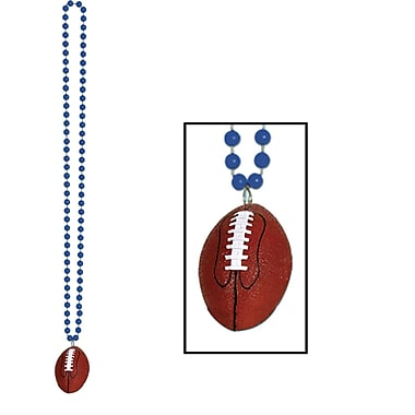 Beistle Beads Necklace With Football Medallion, 33