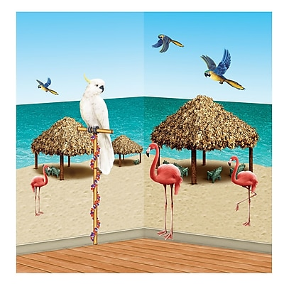 """""Beistle 8"""""""" - 4' 2"""""""" Tiki Hut and Tropical Bird Props, 20/Pack"""""" 1067811"