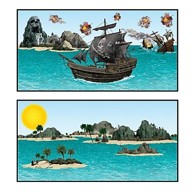 Accessoires bateau de pirates et île, 3 1/2 po à 3 pi 5 1/2 po, 28/paquet