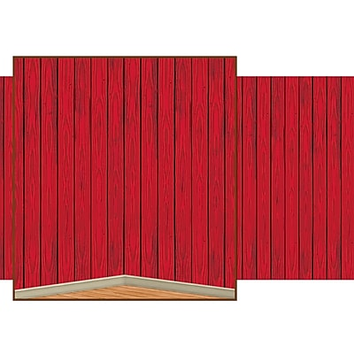 Beistle 4' x 30' Red Barn Siding Backdrop