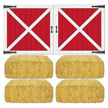 Barn Loft Door & Hay Bale Props, 15-1/2