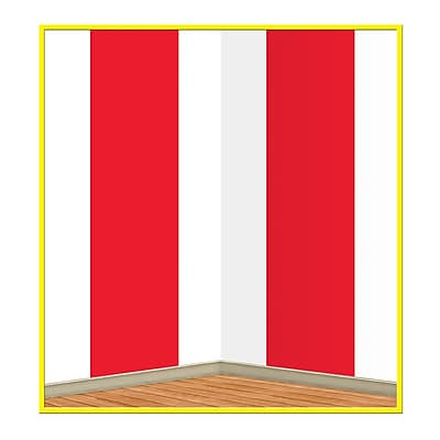 Beistle 4' x 30' Red and White Stripes Backdrop 1067723