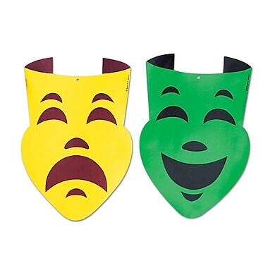 Masques comique et tragique en feuille de métal, 12 ½ po x 18 po, paq./6