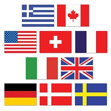 Découpes de drapeaux internationaux, 4 1/2 po, mini, 70/paquet