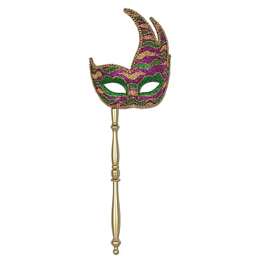 Glittered Mask With Stick, One Size Fits Most, Green/Gold/Purple