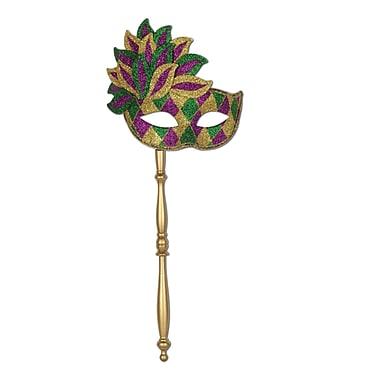 Glittered Mask With Stick With Gold Stick, One Size Fits Most, Green/Gold/Purple