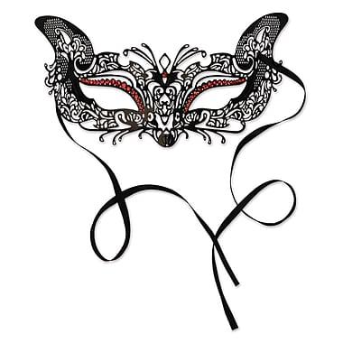 Gems Metal Filigree Masquerade Mask, One Size Fits Most, Black With Red