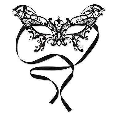 Metal Filigree Masquerade Mask Butterfly Design, One Size Fits Most