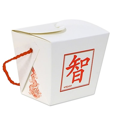 Beistle Asian Favor Box, Pint, White/Red, 8/Pack