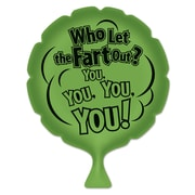 """Beistle 8"""" Who Let The Fart Out? Whoopee Cushion, Green, 4/Pack"""