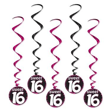 Spirales pour anniversaire de 16 ans, 3 pi 7 po, 15/paquet