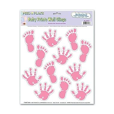 Autocollant d'empreintes de bébé, rose, feuilles de 12 x 15 po, 5/paquet
