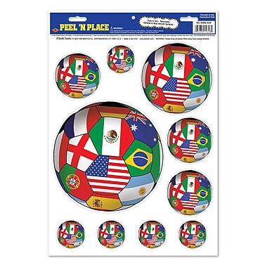 Autocollants « pelez et placez » ballon de soccer international, feuille de 12 x 17 po, 18/paquet