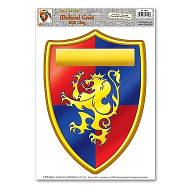 Emblème médiéval autocollant, feuille de 12 x 17 po, 4/paquet