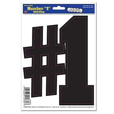 Autocollant « 1 » noir, feuille 6 x 8 1/2 po, paquet de 9