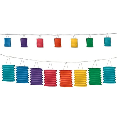 Beistle 12' Lantern Garland, Rainbow, 2/Pack