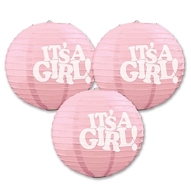 Pink It's A Girl! Paper Lanterns, 9-1/2