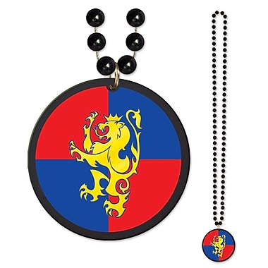 Beistle Beads Necklace With Medieval Crest Medallion, 33