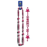"Beistle Sweet 16 Beads Of Expression Necklace, 35"", Black/Cerise"
