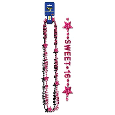 Beistle Sweet 16 Beads Of Expression Necklace, 35