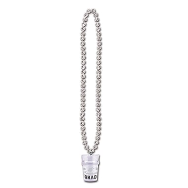 Collier de perles attaché à un verre « Congrats Grad », 33 po, argenté, paquet de 6
