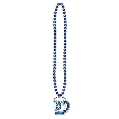 Beistle Beads Necklace With Beer Stein Medallion, 36
