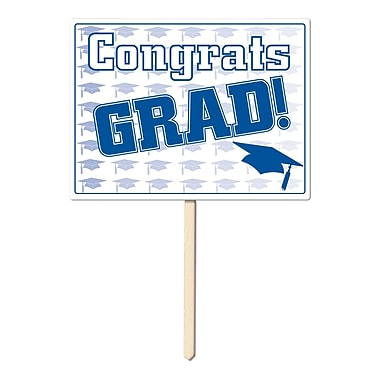 Écriteau en plastique « Congrats Grad », 11 x 15 po, bleu, paquet de 3