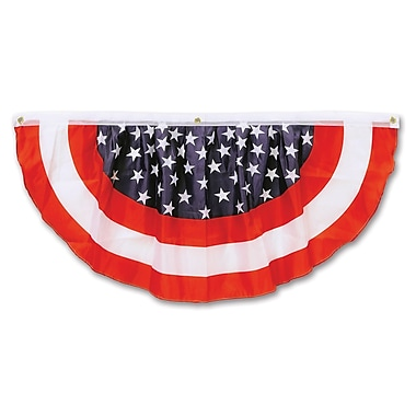 Beistle 4' Stars and Stripes Fabric Bunting, Red/White/Blue, 2/Pack