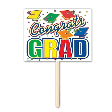Écriteau « Congrats Grad », 12 x 15 po, paquet de 3