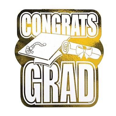 Découpe « Congrats Grad » en aluminium, 13 po, doré, 5 par paquet