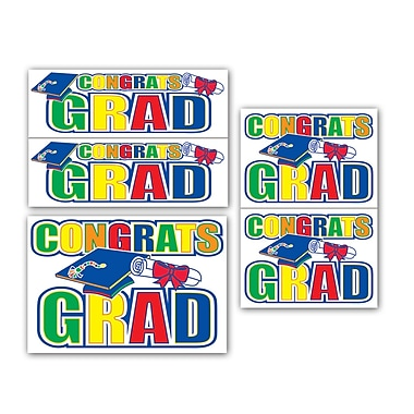 Congrats Grad Auto-Clings, Assorted Sizes, 10/Pack