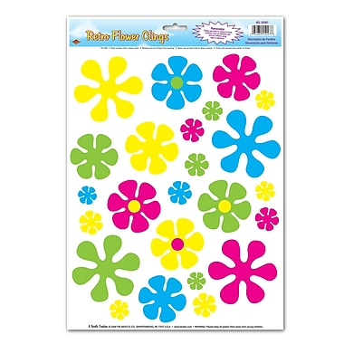 Retro Flower Clings, 12