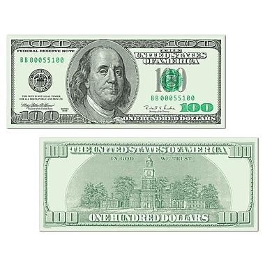 Découpe Gros dollars - billet de 100 $, 7 ½ po x 17 ½ po, paq./10