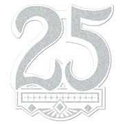 "Beistle 14"" 25th Anniversary Crest, Silver, 5/Pack"