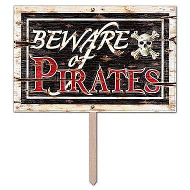 Affiche de jardin 3 dimensions en plastique « Beware Of Pirates », 12 x 18 po, 2/paquet
