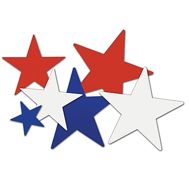 Beistle Star Cutouts, Red/Silver/Blue, 27/Pack