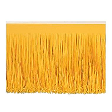 Draperie à franges en papier 6 épaisseurs, 15 po x 10 pi, jaune doré, 2/paquet