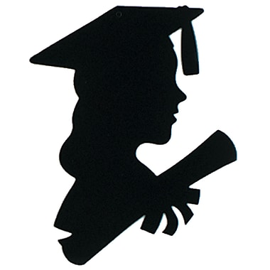 Silhouette de femme diplômée, 8 x 12 po, paquet de 13