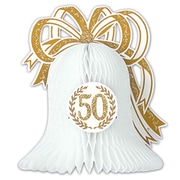"Beistle 10 1/2"" 50th Anniversary Centerpiece, Gold/White, 3/Pack"