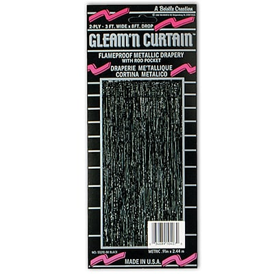 Beistle 8' x 3' 1-Ply Flame Resistant Gleam 'N Curtain, Black, 2/Pack