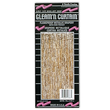1-Ply Flame Resistant Gleam 'N Curtain, 8' x 3', Gold, 2/Pack