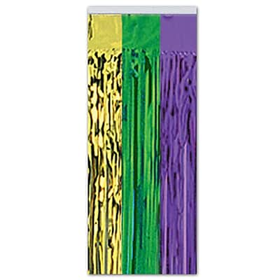 Beistle 8' x 3' 1-Ply Flame Resistant Gleam 'N Curtain, Green/Gold/Purple, 2/Pack